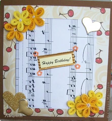 открытка вишневая, цветочная, музыкальная. фото 1