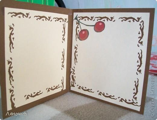открытка вишневая, цветочная, музыкальная. фото 2