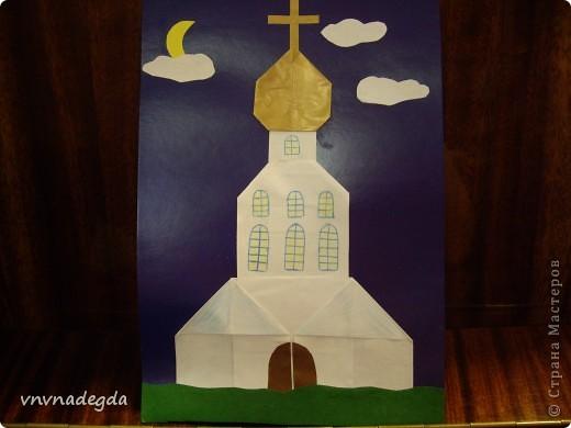 """Вот такие златоглавые соборы получились у моих учениц Воскресной школы. Делали их в подарок родителям на Пасху. Идею взяли из книги Г.В.Ивановой """"Открытки с улыбкой"""". фото 4"""