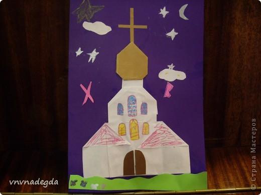 """Вот такие златоглавые соборы получились у моих учениц Воскресной школы. Делали их в подарок родителям на Пасху. Идею взяли из книги Г.В.Ивановой """"Открытки с улыбкой"""". фото 5"""