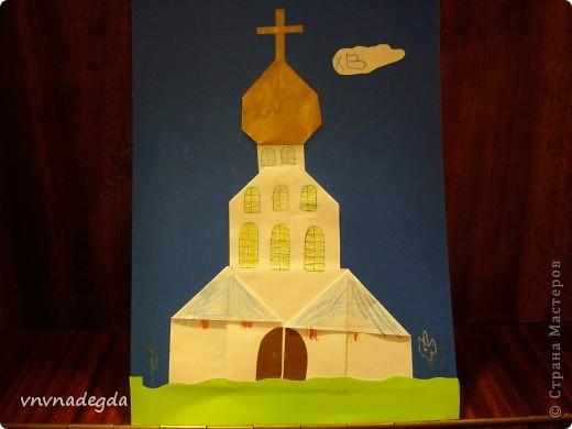 """Вот такие златоглавые соборы получились у моих учениц Воскресной школы. Делали их в подарок родителям на Пасху. Идею взяли из книги Г.В.Ивановой """"Открытки с улыбкой"""". фото 7"""