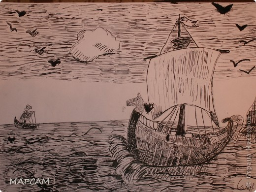 """Снова, здравствуйте. Сегодня решила выложить рисунки моей дочки Анечки (9 лет) в своем блоге. До этого не доходили руки сфотографировать. Здесь не все работы моего ребенка, некоторые мы подарили крестным, некоторые работы на выставке.  Итак, первая работа """"Рыбки"""" (техника рисования акварелью по восковым мелкам). фото 3"""