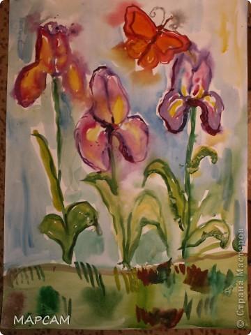 """Снова, здравствуйте. Сегодня решила выложить рисунки моей дочки Анечки (9 лет) в своем блоге. До этого не доходили руки сфотографировать. Здесь не все работы моего ребенка, некоторые мы подарили крестным, некоторые работы на выставке.  Итак, первая работа """"Рыбки"""" (техника рисования акварелью по восковым мелкам). фото 9"""