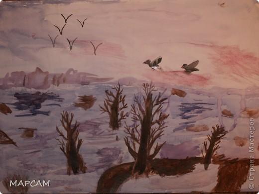 """Снова, здравствуйте. Сегодня решила выложить рисунки моей дочки Анечки (9 лет) в своем блоге. До этого не доходили руки сфотографировать. Здесь не все работы моего ребенка, некоторые мы подарили крестным, некоторые работы на выставке.  Итак, первая работа """"Рыбки"""" (техника рисования акварелью по восковым мелкам). фото 11"""