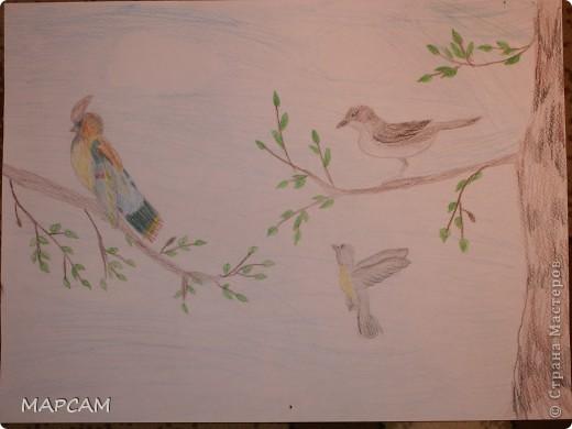 """Снова, здравствуйте. Сегодня решила выложить рисунки моей дочки Анечки (9 лет) в своем блоге. До этого не доходили руки сфотографировать. Здесь не все работы моего ребенка, некоторые мы подарили крестным, некоторые работы на выставке.  Итак, первая работа """"Рыбки"""" (техника рисования акварелью по восковым мелкам). фото 15"""