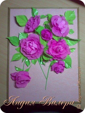 Розы из гофрированной бумаги  фото 1