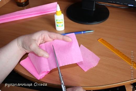 Роза из гофрированной бумаги.Первый МК. фото 5