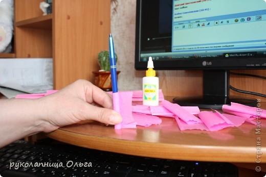 Роза из гофрированной бумаги.Первый МК. фото 8
