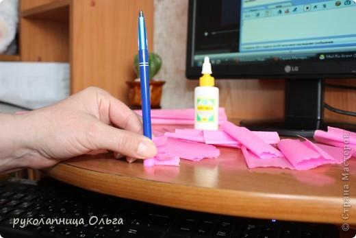 Роза из гофрированной бумаги.Первый МК. фото 9