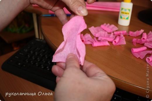 Роза из гофрированной бумаги.Первый МК. фото 12