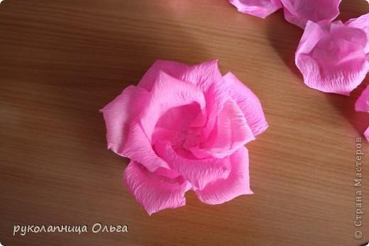 Роза из гофрированной бумаги.Первый МК. фото 23