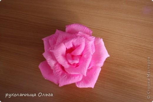 Роза из гофрированной бумаги.Первый МК. фото 24
