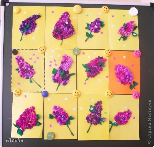 Эта сирень сделана в технике мозаики из бумажных комочков на уроке технологии в 1 классе. За урок уложились. Результат порадовал :))) фото 1