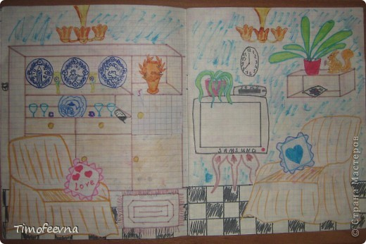 Приветствую всех гостей!! Хочу вам показать домик для бумажной куклы, который я делала, когда мне было 12 лет. Приятно, что он сохранился, потом подарю его своей доче :) Почему то фото получились тёмные :( То ли дело в бумаге, то ли это фотоаппарату скоро кирдык. Домик сделан из простой тетради в клеточку. На двери номер - 12. Это в честь моего возраста, видимо :) В почтовом ящике прорезь для газет и писем. фото 7