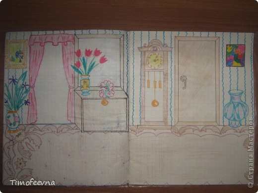 Приветствую всех гостей!! Хочу вам показать домик для бумажной куклы, который я делала, когда мне было 12 лет. Приятно, что он сохранился, потом подарю его своей доче :) Почему то фото получились тёмные :( То ли дело в бумаге, то ли это фотоаппарату скоро кирдык. Домик сделан из простой тетради в клеточку. На двери номер - 12. Это в честь моего возраста, видимо :) В почтовом ящике прорезь для газет и писем. фото 22