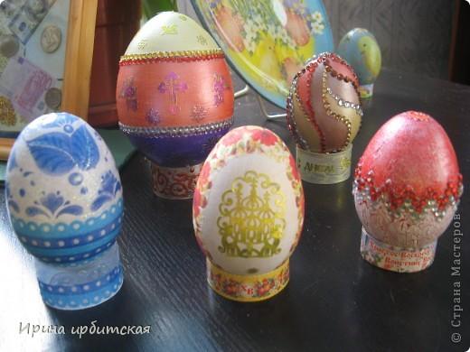 Первый раз украшала деревянные яйца! Пробовала разные способы... фото 1