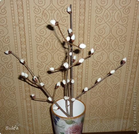 Здравствуйте, дорогие мои мастера и мастерицы!  Вот скоро Пасха. Все готовят к Пасхе поделки. А я вспомнила, что сначала Вербное воскресенье! -------------------- Еще до появления листвы, Лишь солнышко проглядывать начнёт,  На ветках распускаются цветы:  Увидишь их - и сердце запоёт!  Сидят на ветках птенчики весны, Пушистенькие белые комочки. Под впечатленьем вербной красоты И родились вот эти строчки. ...Татьяна Грачёва  Поскольку у нас в Москве зиме задержалась, а выйти на улицу просто так я не могу и не знаю распустилась ли у нас верба, то решила сама сделать несколько веточек вербы с шариками ваты.  фото 6