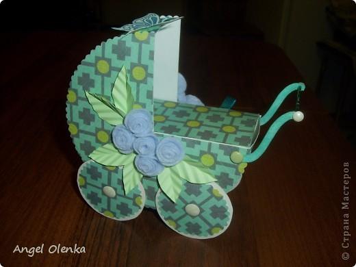 Эта колясочка была сделана в конце прошлого года на рождение мальчика. фото 1