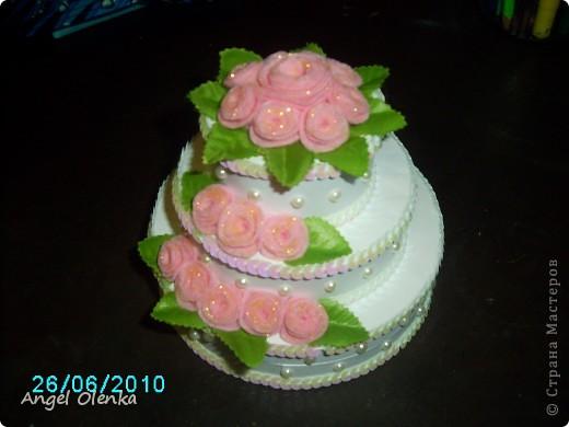 Такой тортик делала на юбилей свадьбы. фото 2