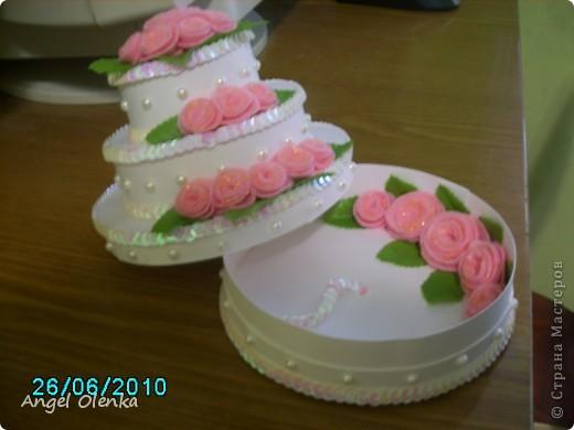 Такой тортик делала на юбилей свадьбы. фото 3