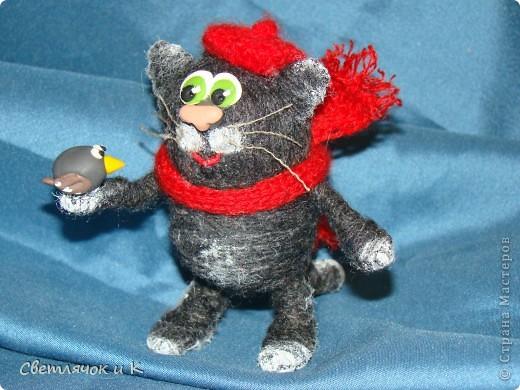 """Сегодня хочу показать свои игрушечки-шерстянушечки.Вдохновили на творчество коты и крыски """"Немаленького""""(это ник,живёт на Лиру,а сейчас у него уже свой сайт  kotodel.ru ) И вы,наверняка,встречали его работы. Очень хотелось придумать что-то своё.  Итак-Лёвушка-двоюродный брат Бонифация) фото 4"""