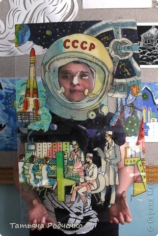 """Эта работу работу мы назвали """"Покорители космоса"""". Выполнена она в технике """"аппликация из пластилина + обратная (хотя мы называем эту технику """"пластилиновая живопись""""). Это фрагмент картины. фото 6"""