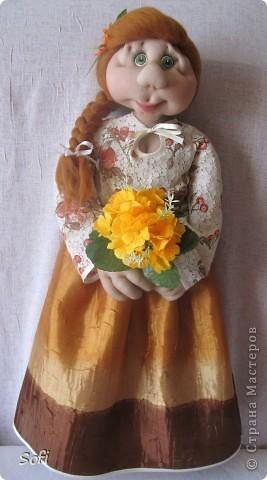 Куклы Мастер-класс Шитьё Пакетница с такой вот нижней юбкой Капрон Картон гофрированный Проволока Шерсть фото 1