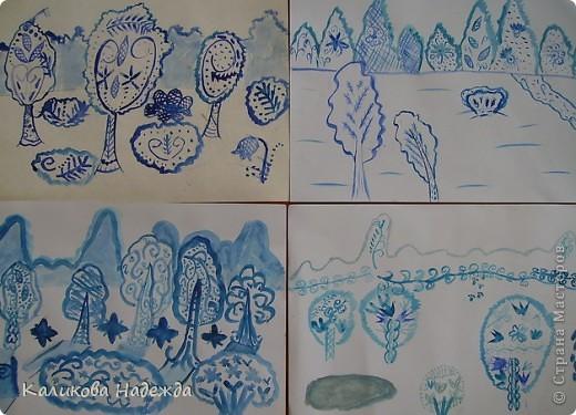 А мы никак не можем забыть зиму. Вспоминали, какой был чистый, пушистый снег в середине зимы, какие ярко-голубые тени отбрасывали предметы при ярком зимнем солнце. Наши воспоминания воплотились в эти рисунки. фото 2