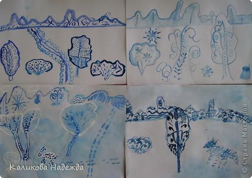 А мы никак не можем забыть зиму. Вспоминали, какой был чистый, пушистый снег в середине зимы, какие ярко-голубые тени отбрасывали предметы при ярком зимнем солнце. Наши воспоминания воплотились в эти рисунки. фото 3