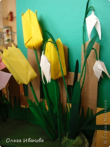 """28, 29 марта в Омске состоялся Фестиваль оригами. Мы с девчонками из кружка тоже приняли участие. Это одна из наших работ """"Бабушкин садик"""".  фото 3"""