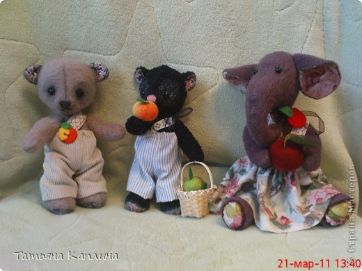 Игрушки из мохера. мишки 15 см. фото 1