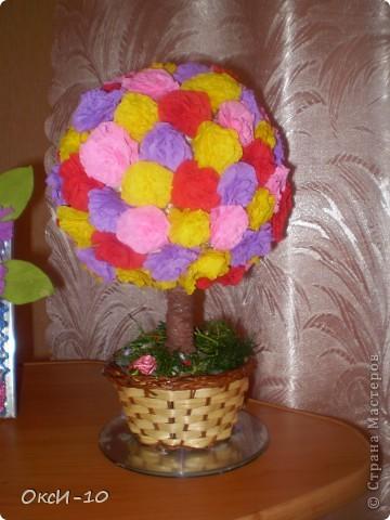 хотела сделать цветочный шарик а получилось цветущее деревце фото 1