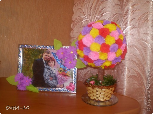 хотела сделать цветочный шарик а получилось цветущее деревце фото 2