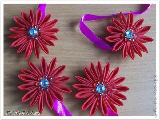 Цветы-магниты для подхвата на шторы. Канзаши. фото 1