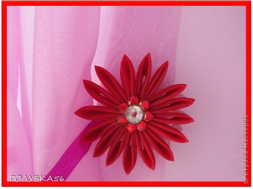 Цветы-магниты для подхвата на шторы. Канзаши. фото 3