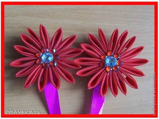 Цветы-магниты для подхвата на шторы. Канзаши. фото 2