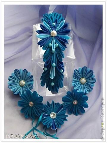 Голубая фантазия. Канзаши. фото 8