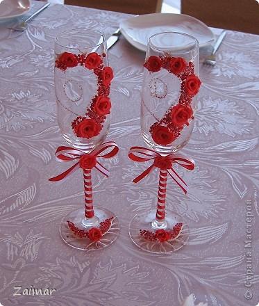 Вот такие бокалы получились у меня для моей сестренки Оксаны и её мужа Дмитрия. фото 2