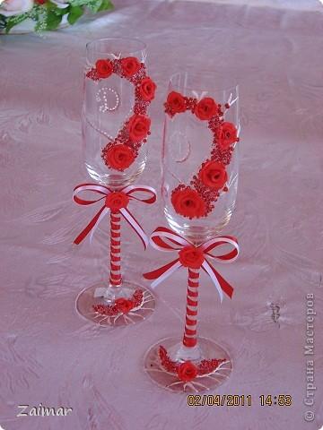 Декор предметов Свадьба Бокалы к свадьбе сестренки Бисер Бусины Ленты Пластика фото 1