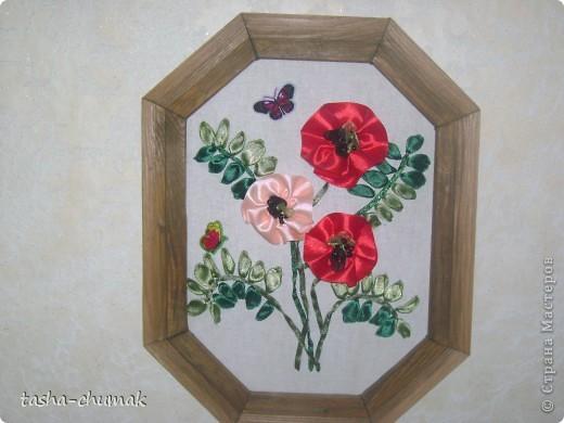 Дикий гиацинт (Ленточки атлас., бисер,наклейки бабочки) фото 2