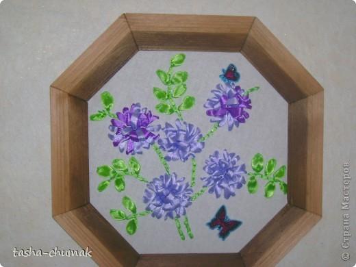 Дикий гиацинт (Ленточки атлас., бисер,наклейки бабочки) фото 3