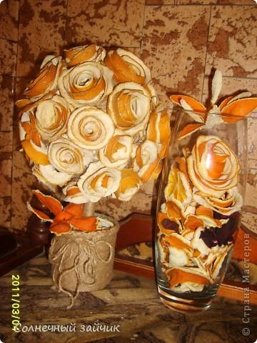 Любите ли вы апельсины также как мы ? Мы их очень - очень любим. Руки сами автоматом цветочки скручивают. На батареях они быстро сушатся. Все наклеила термоклеем на шарик из папье-маше. фото 2