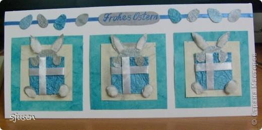 Не так давно многие (в том числе и я) делали открытки с такими зайчатами на Новый год, а я решила использовать их на Пасху. Эта открытка отправится моей знакомой в Швейцарию, поэтому и надпись на открытке по-немецки))  В Швейцарии, как и во многих других странах, символами Пасхи являются пасхальные зайцы (Osternhasen) и разноцветные крашеные яйца. Одной из детских забав на Пасху являются особые пасхальные игры, среди них - катание пасхальных яиц по желобу (Eierrollen). Эти символы я и постаралась отразить в открытке, используя тематику скетча. Надеюсь, что удалось))