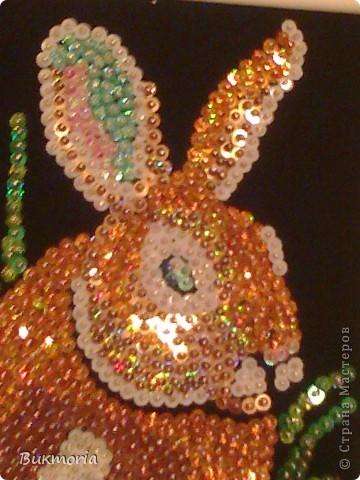 Этого зайца я взяла здесь: http://stranamasterov.ru/node/78992 . Этот заяц мне сразу очень понравился! И... я сразу же полетела в магазин за пайетками, бархатной бумагой, гвОздиками... фото 3