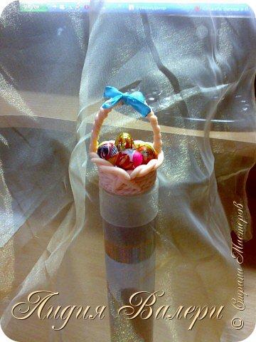 Маленькая корзинка с пасхальными яйцами (материал-полимерная глина) фото 4