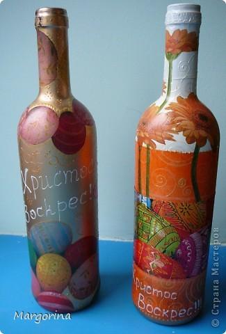 Пришла ко мне мысль сделать подарки на Пасху. Купила вина и оформила в соответствующей тематике. :) фото 1