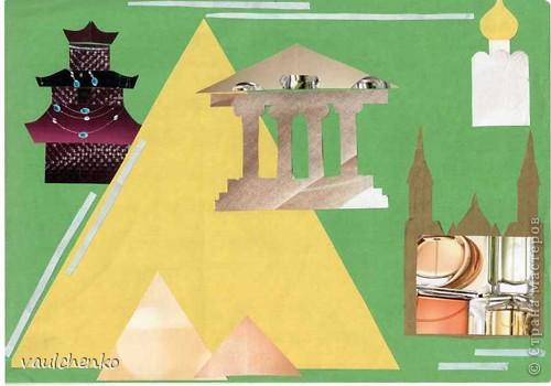 """""""Пасхальные перезвоны. Образ русской архитектуры"""". Эти мои работы были выполнены на курсах пов. квал. """"8 класс. Архитектура"""" В качестве цв. бумаги, создающий образ, были взяты странички из журналов по косметике. Выбирались тщательно кусочки, чтобы образ получился и кое-где даже имитация объема (например - вход в храм). фото 2"""
