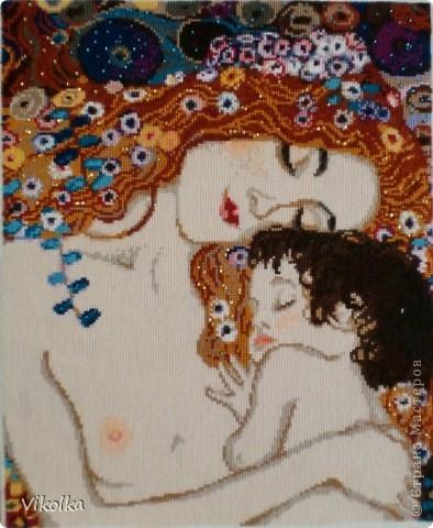 """Вышивка по мотивам картины  Густава Климта """"Три возраста женщины"""", шерсть/акрил, бисер, размер 30х35.  фото 1"""