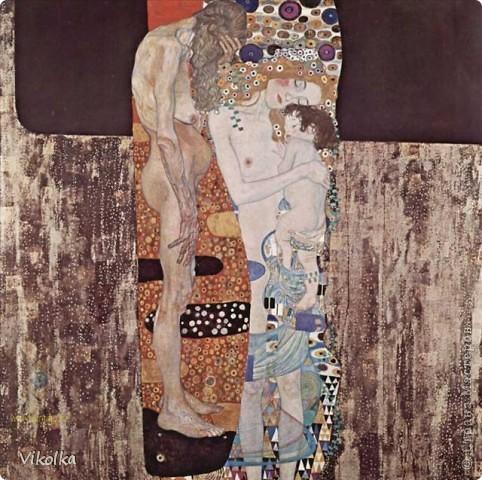 """Вышивка по мотивам картины  Густава Климта """"Три возраста женщины"""", шерсть/акрил, бисер, размер 30х35.  фото 2"""