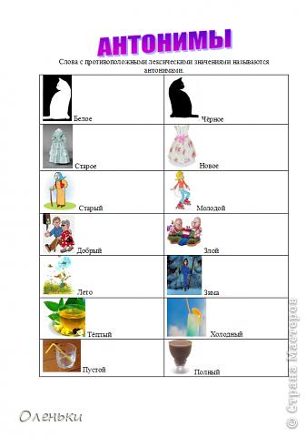 В школе дочери задали задание: сделать таблицы по омонимам, синонимам и антонимам. В интернете долго искали подходящие картинки, оформили.  Решили выставить в СМ - может пригодиться кому. фото 6